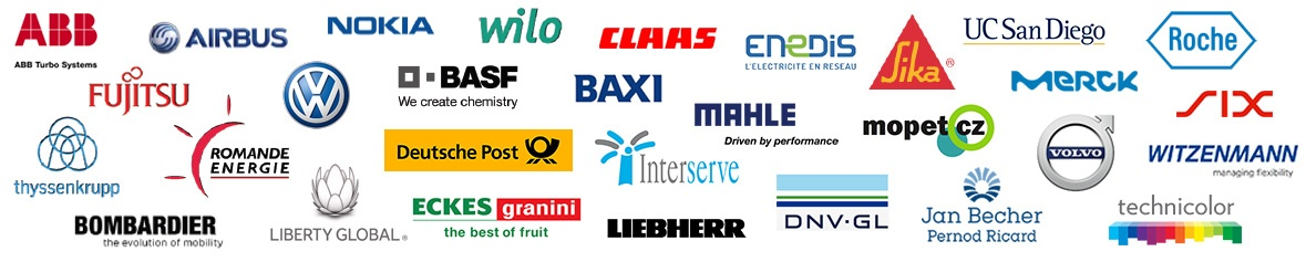 Logos of the companies participating in the Innovation Forum in Bonn