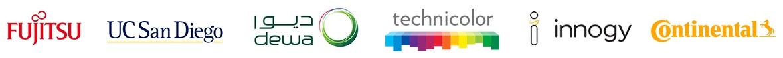 Logos of Fujitsu, UCSD, DEWA, Technicolor, innogy and Continental