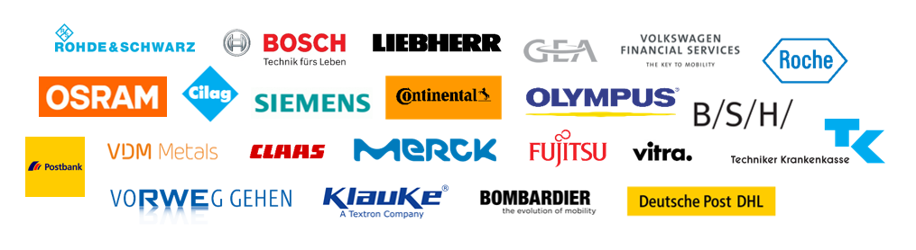Logos of the companies participating in the Idea management Forum in Bonn